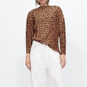 NWT Zara pleated leopard print shirt